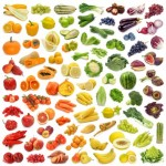Various fruits and vegetables laying in rainbow formation to suggest how diet can play a role