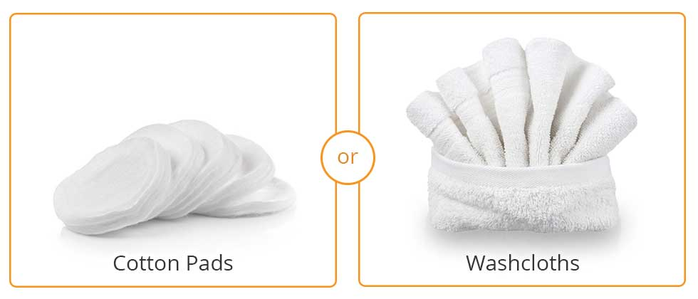 Image of cotton pads and washcloths which can be used for eyelid compresses to treat seborrheic dermatitis of the eyelids (more accurately known as seborrheic blepharitits)