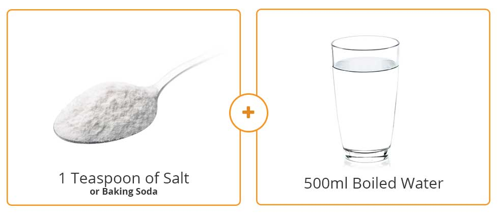 Image showing the typical amount of salt and boiled water that is required when making a home made eyelid cleanser for treatment of seborrheic blepharitits.