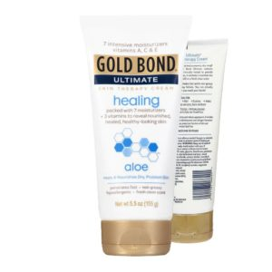 Front and back view of the Gold Bond Ultimate Healing Skin Therapy Lotion bottle