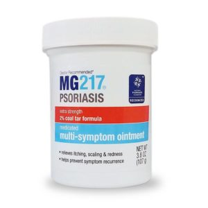 Tub of MG217 Psoriasis Treatment ointment which contains 2% Coal Tar
