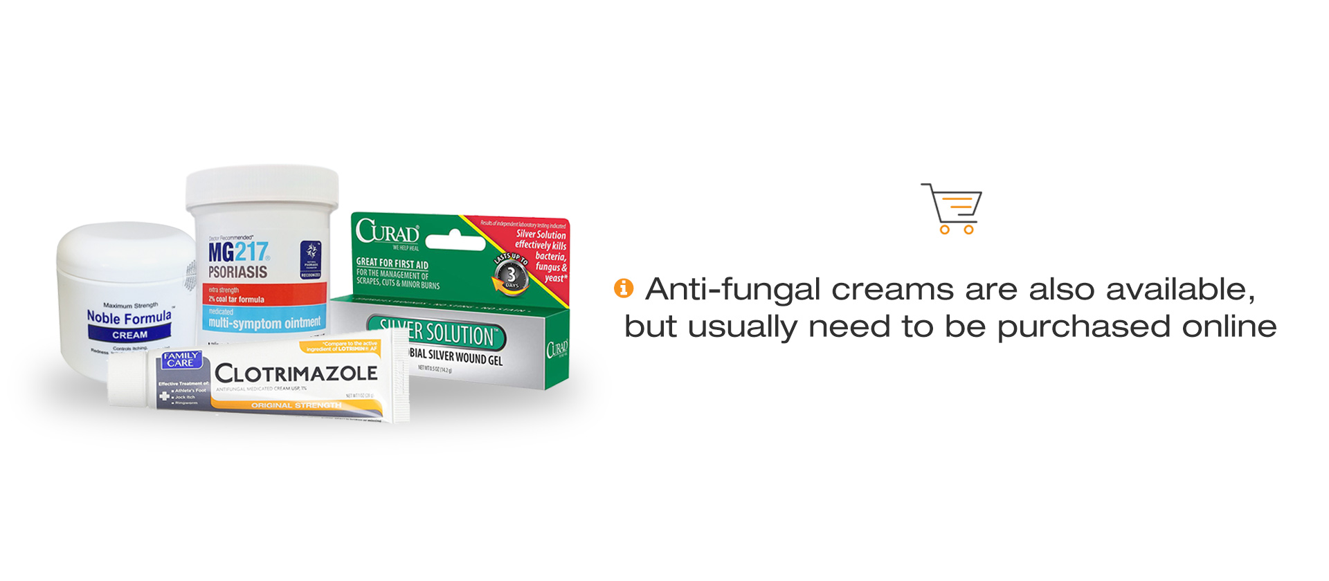 Image of 4 popular anti-fungal creams for the treatment of seborrheic dermatitis on the chest