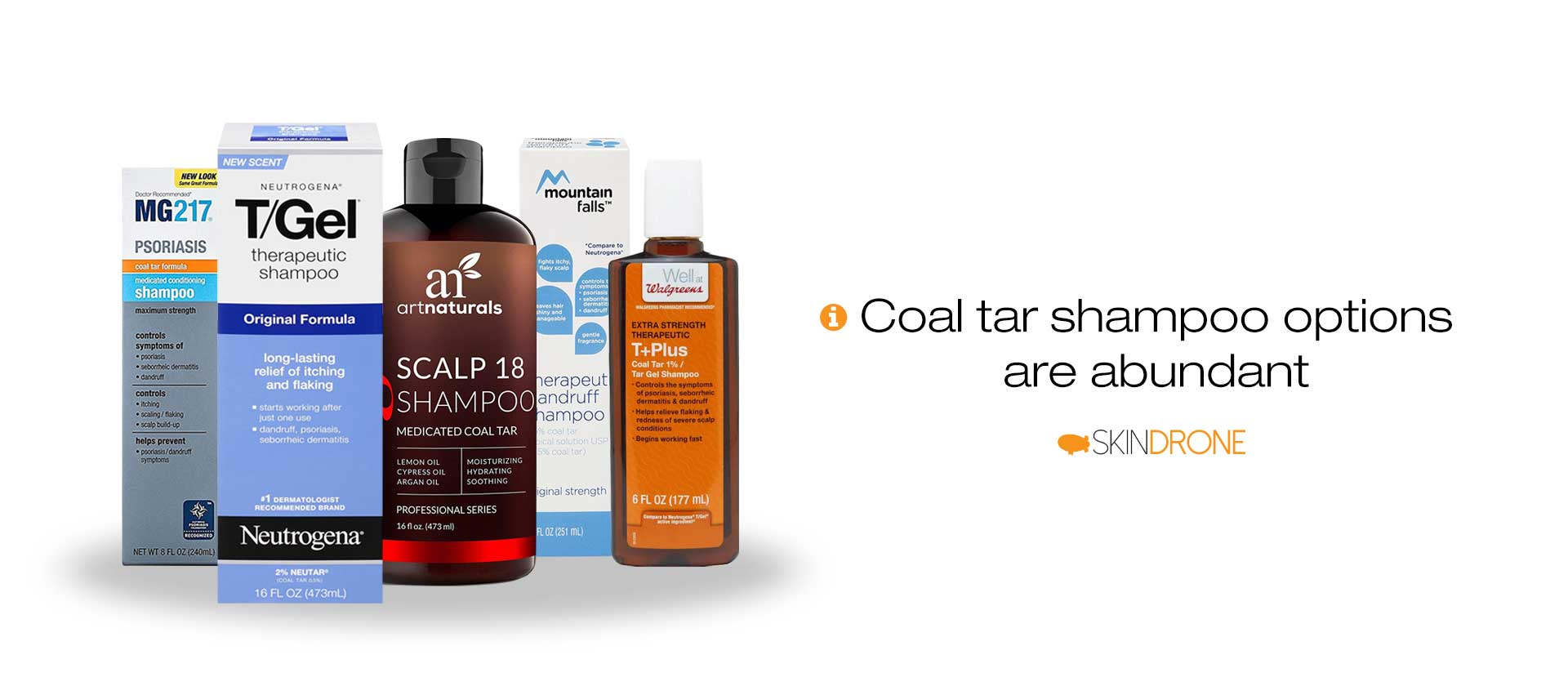 Five of the most common coal tar base anti-dandruff shampoos