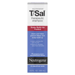 Box containing 133ml bottle of Neutrogena's T/Sal shampoo that uses salicylic acid