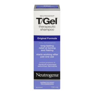 Box containing 130ml bottle of Neutrogena T/Gel Original Formula which uses coal tar