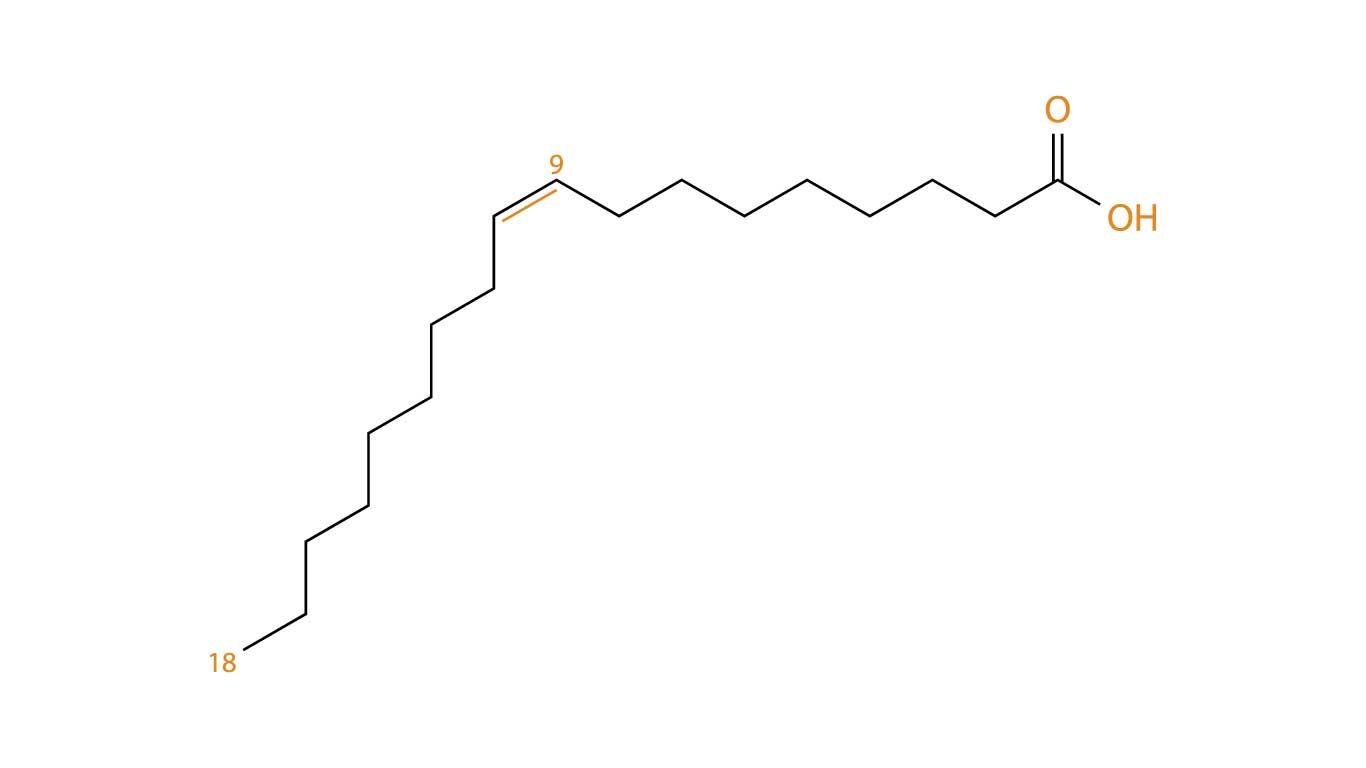 Oleic acid molecule - in it's free fatty acid form