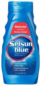 325ml bottle of Selsun Blue shampoo based on selenium sulfide as the active ingredient