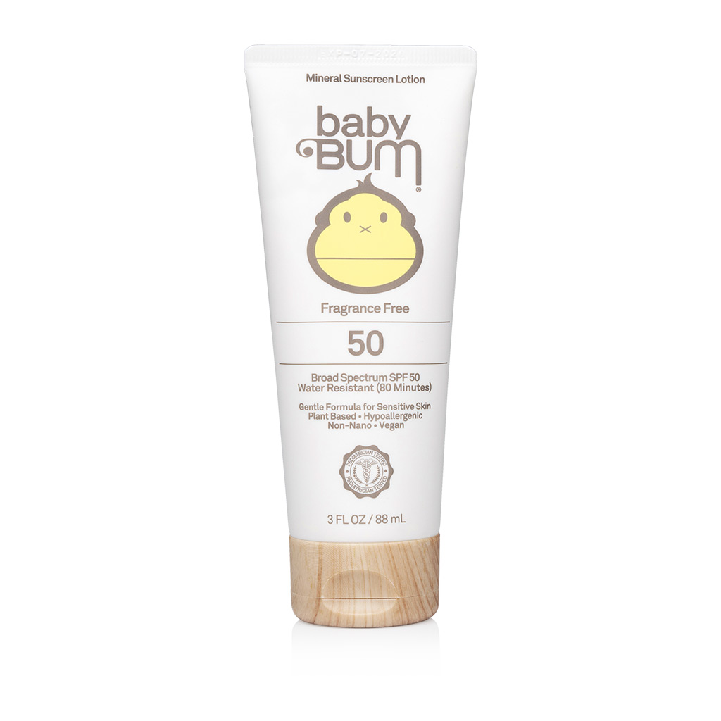 88ml tube of Baby Bum Fragrance free sunscreen - another primarily natural sunscreen option for seborrheic dermatitis prone skin