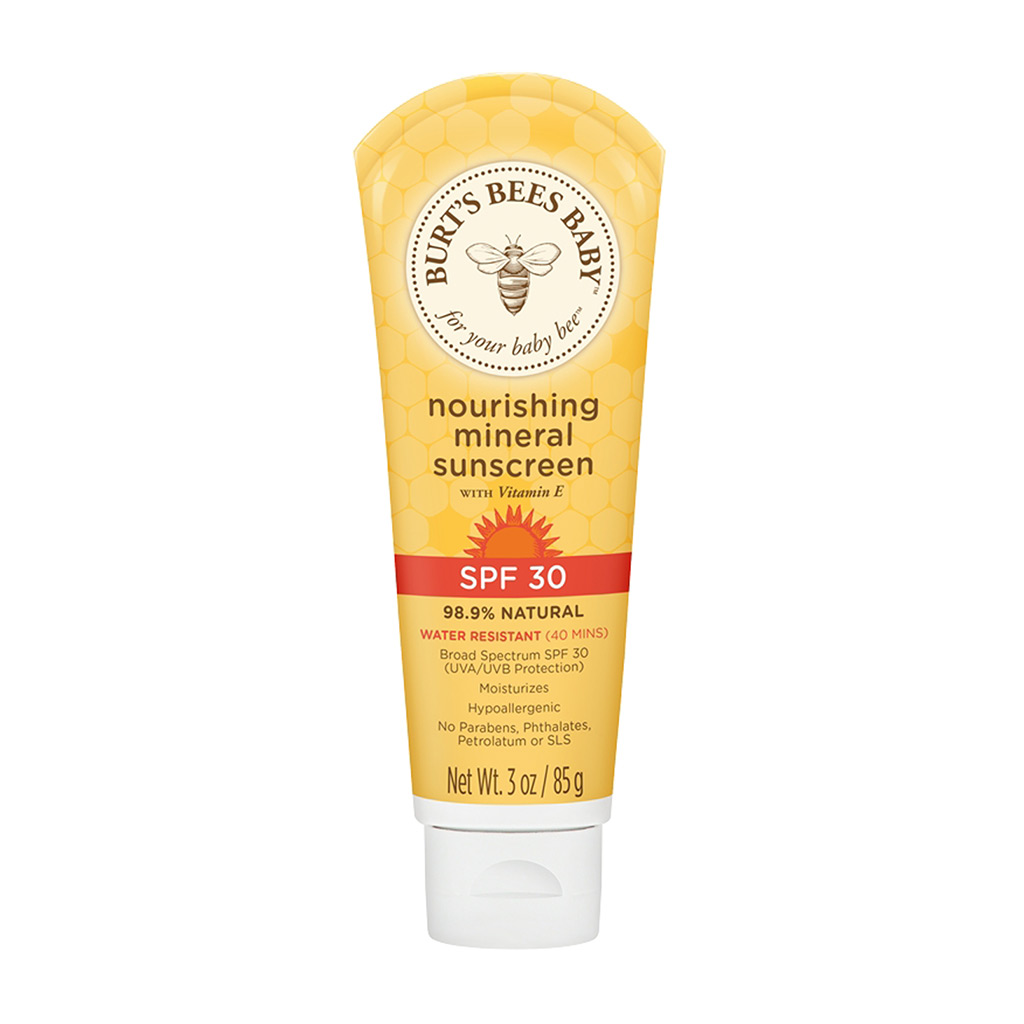 85g tube of Burts Bees nourishing sunscreen - a high availability natural oriented choice