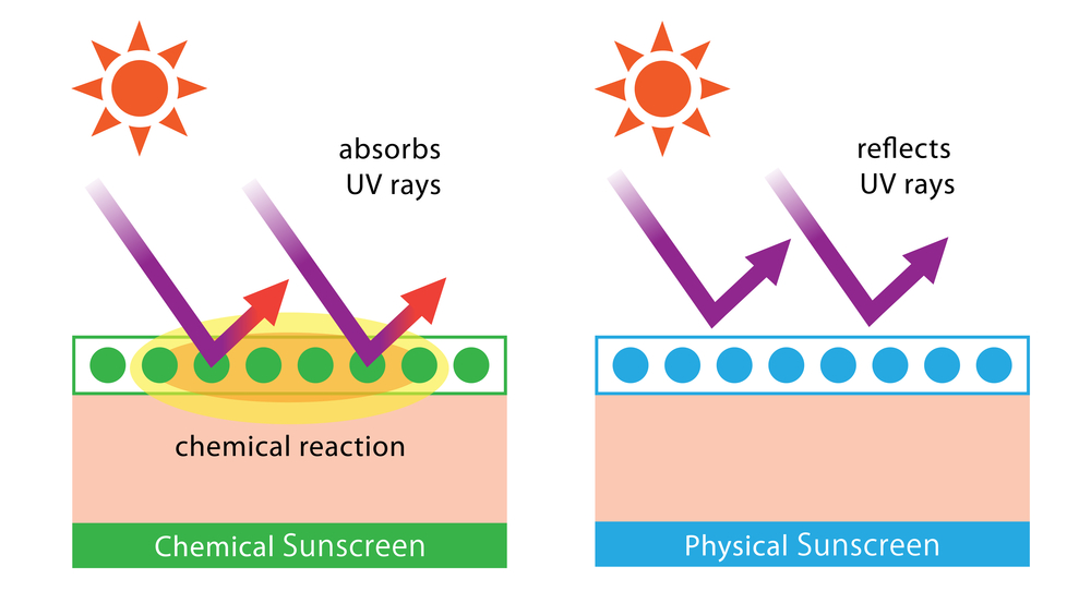 Visual representation of the primary difference between chemical and physical sunscreen agents; chemical agents absorb UV rays, while physical ones reflect them.
