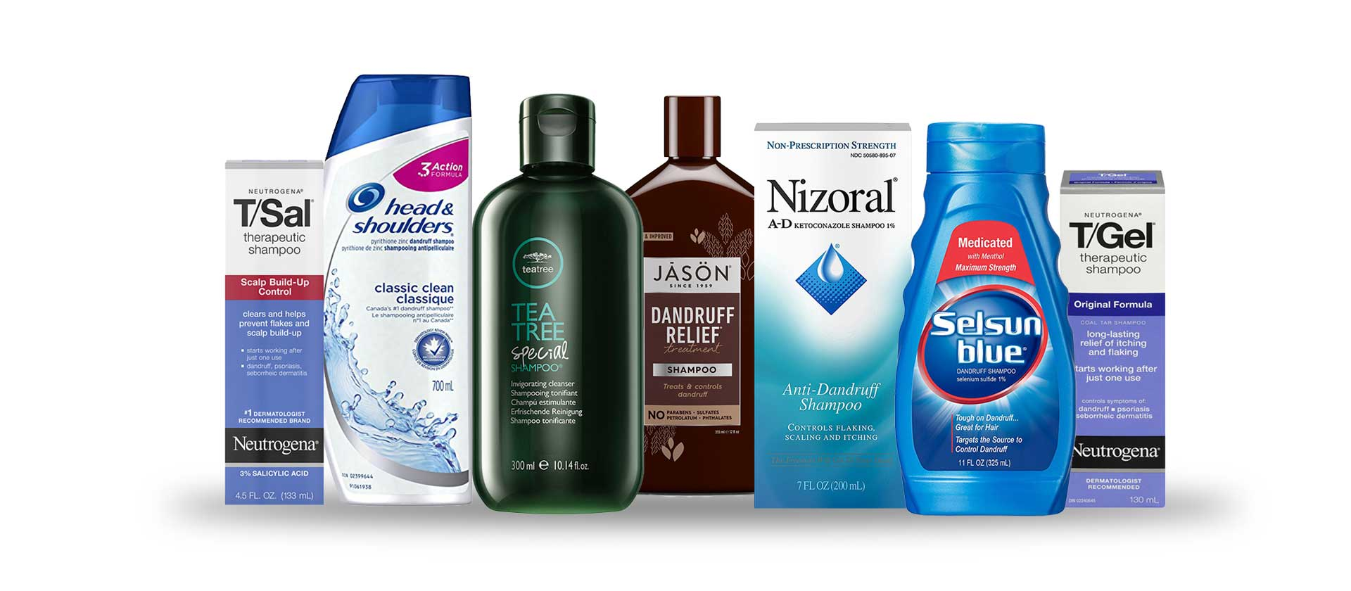 Packaging of the 7 most popular seborrheic dermatitis shampoos. From left to right; T/Sal Therapeutic Shampoo, Head and Shoulders Classic Clean, Paul Mitchell Tea Tree Special, Jason Dandruff Relief, Nizoral Ketoconazole Shampoo, Selsun Blue Dandruff Shampoo, T/Gel Therapeutic Shampoo.