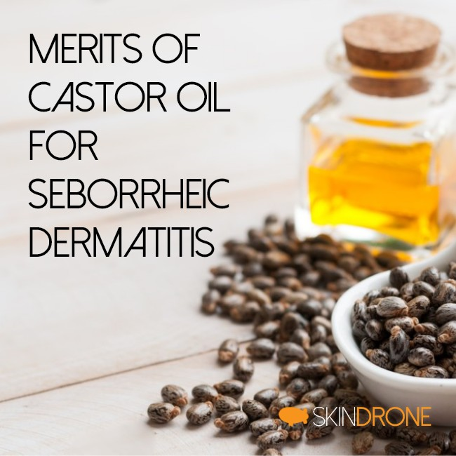Cover image for the article reviewing the merits of castor oil in the treatment of seborrheic dermatitis - title text overlaying a background that features a spoonful of dried castor beans position beside a small square bottle of oil