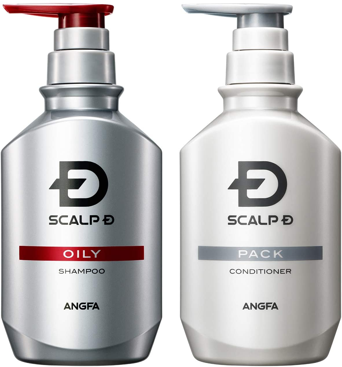 A bottle of Scalp-D oily variant anti-dandruff shampoo beside a bottle of Scalp-D conditioner – English language packaging