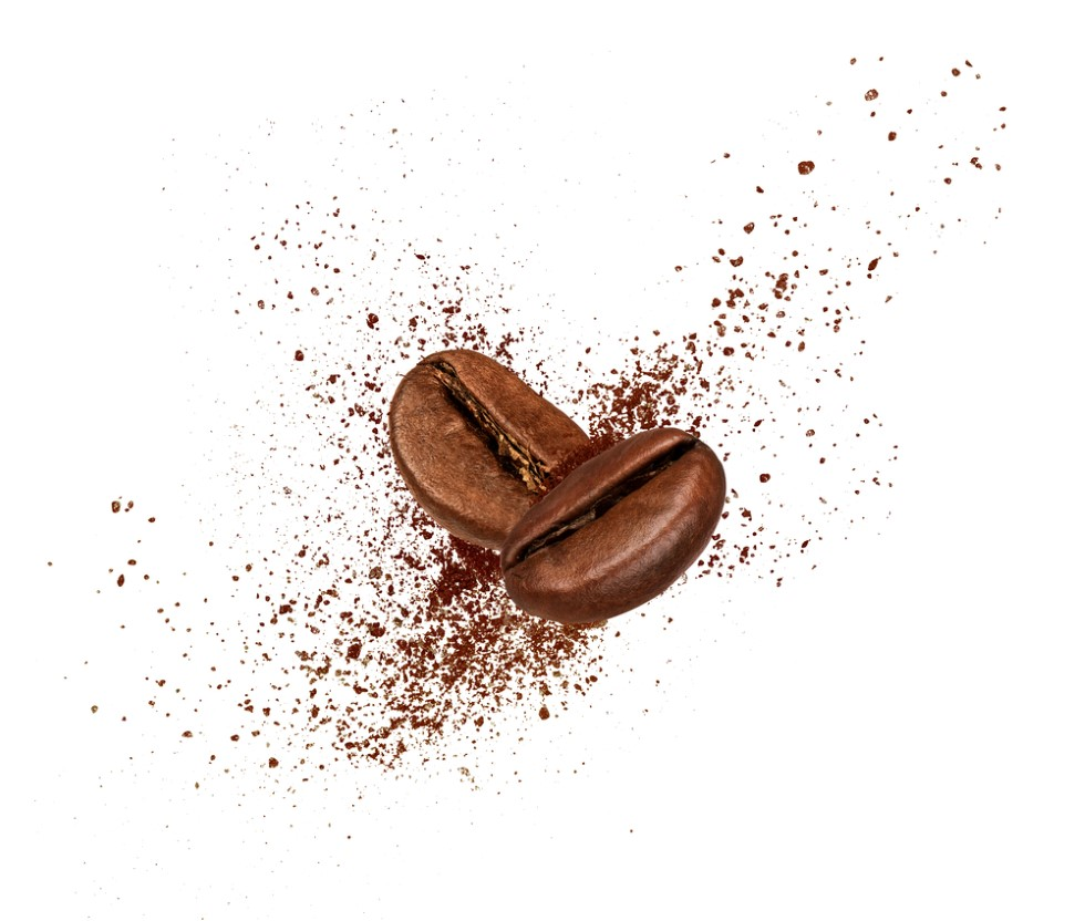 Two coffee beans colliding - to represent the confusing evidence surrounding the effects of caffeine on seborrheic dermatitis