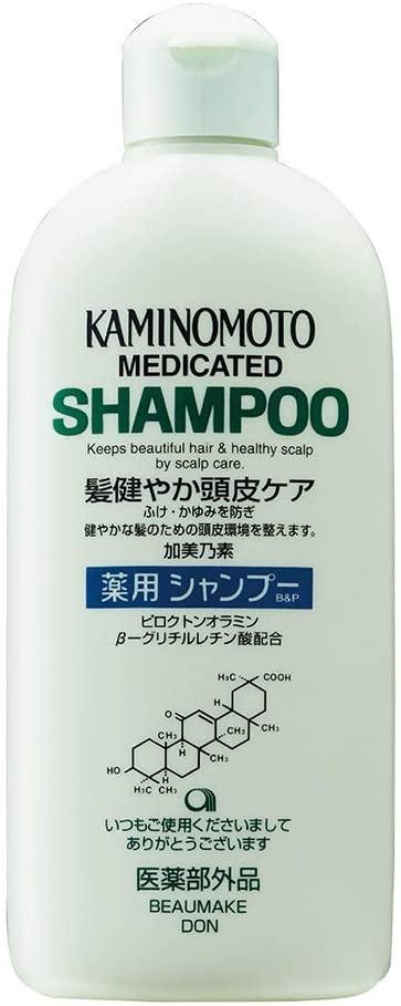 Bottle of Kaminomoto medicated shampoo – older packaging